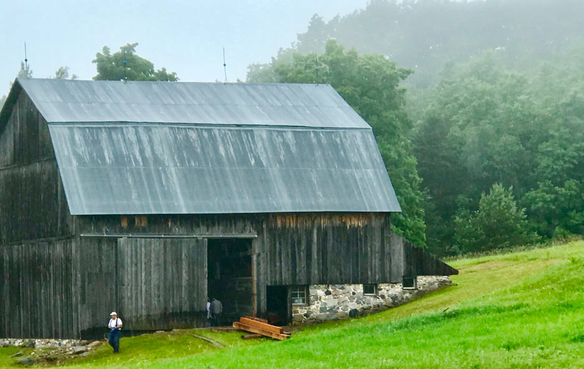 Barn in foreground with foggy woods behind it and lush bright green grass in the foreground