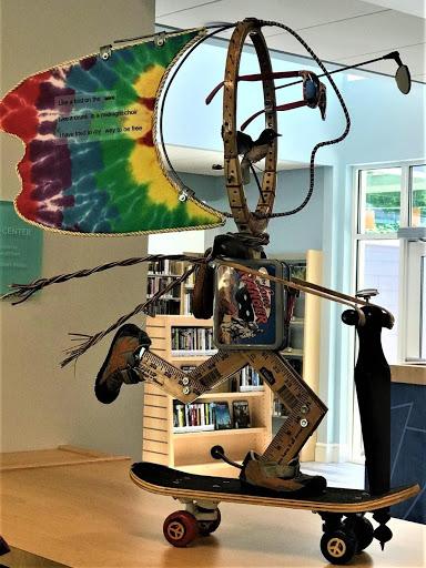 Glen Lake Community Library art sculpture on skateboard