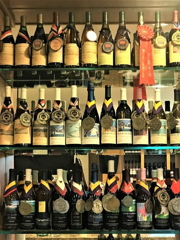 wine bottles with medals