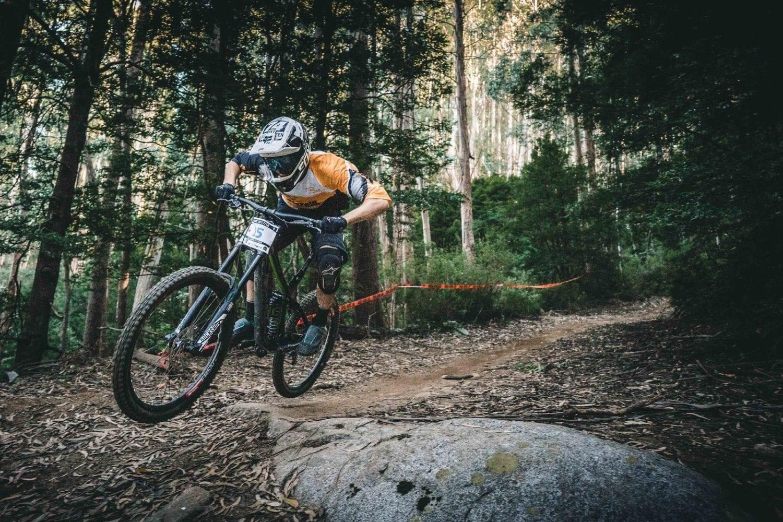Mountain bike rider in woods